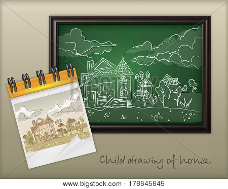 Child chalk hand drawing landscape with house on blackboard and doodle style house paint vector illustration
