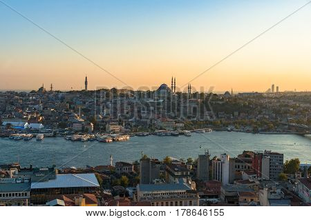 Fatih District, Golden Horn Bay And Eminonu Ferry Station