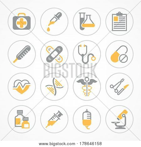 Medical icons on white background medicine symbols in yellow medical vector illustration