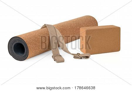 Eco Friendly Cork Yoga Mat With Strap Premium Product on White Background