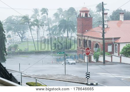 Torrential rain during Cyclone Ita in April 2014 on The Strand Townsville, North Queensland, Australia