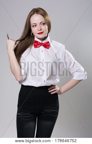 Portrait Of A Young Woman In A Light Shirt