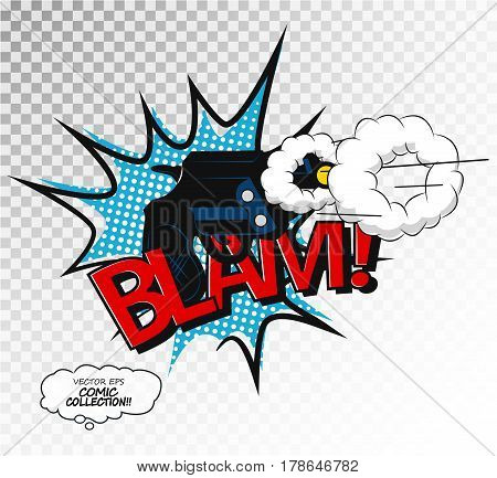 Comic effect speech phrase print. Pistol shot. Revolver and smoke after a shot drawn, text sound effect