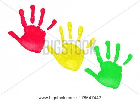 Colorful hands prints isolated on white background