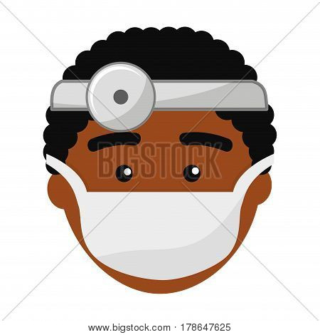 doctor face with medical mask and reflector, vector illustration design