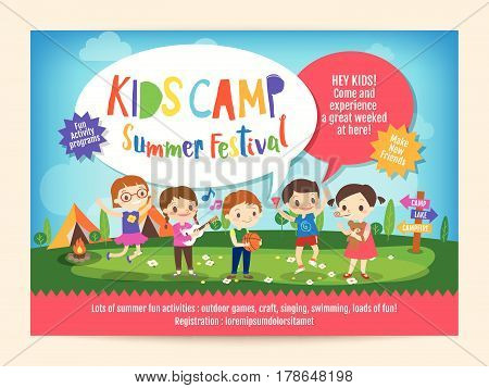 kids summer camp education advertising poster flyer template with illustration of children doing activities on camping
