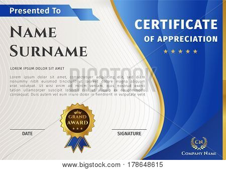 Vector certificate template on awarding, design of certificate with blue and gold elements and badge