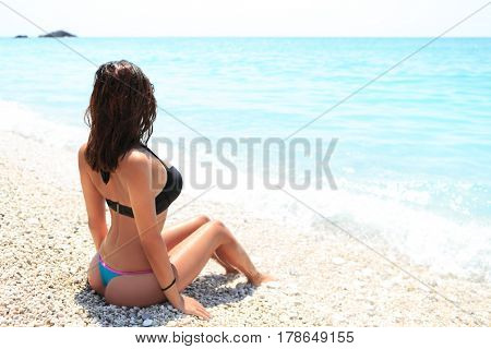 Back of sexy young woman on summer beach