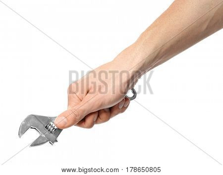 Hand of auto mechanic with wrench on white background