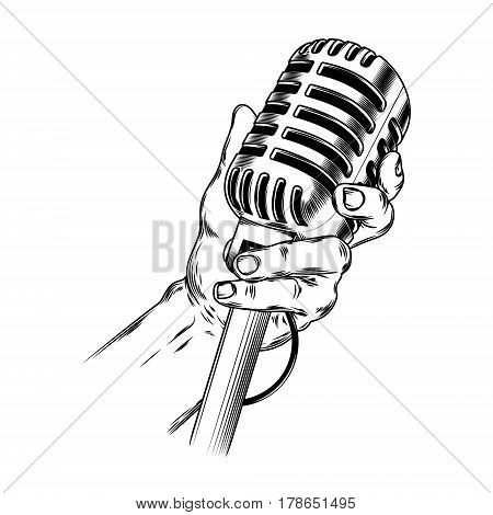 illustration old microphone in hand made in engraving style