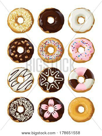 Set delicious donuts in glaze isolated on white background