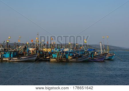 Chapora, Goa, India - March 3, 2017: Fishing Boats On Chapora Port In Goa, India On March 3, 2017