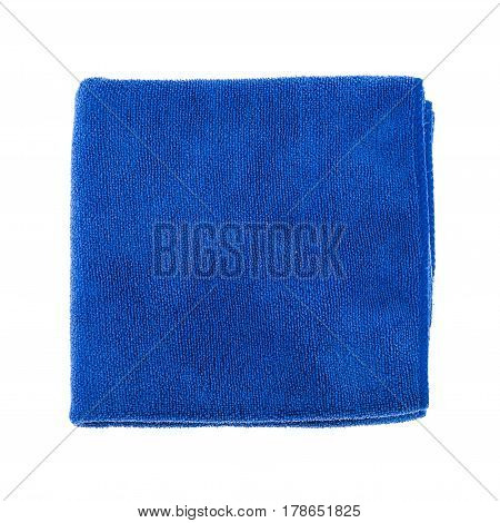 Blue micro fiber towel isolated on white background