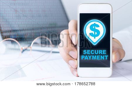 Business man showing a secured payment transaction on his mobile
