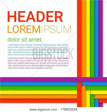 Vector illustration in LGBT colors. Symbol of peace gay culture. Modern colorful rainbow background. Paper layers in a Material design style. Flyer brochure cover template for Pride Month.