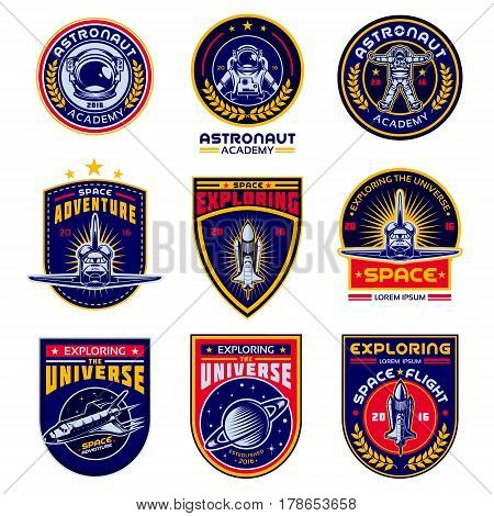 Set of icons of space. Elements of design, badges, logo and emblem on a white background. The concept of space travel