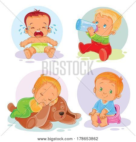 Set of icons of toddlers - crying, drinking milk from a bottle of sleeping, sitting on the pot