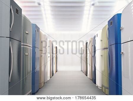 3d rendering shopping aisle full with refrigerators