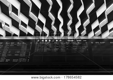 TOKYO JAPAN : November 22 2016: Airport departure arrival destination mechanical analog old style counter board template illustration
