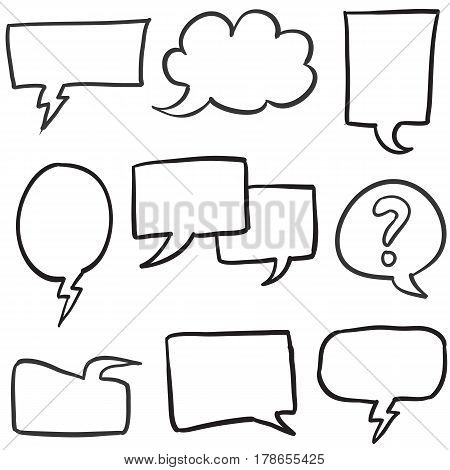 Collection stock of text balloon hand draw vector art