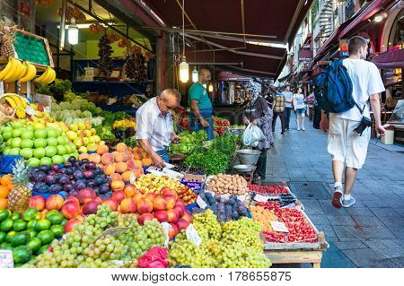 Istanbul Street Fruit Market With Tourists And Locals
