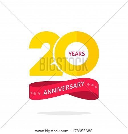 20 years anniversary logo template isolated on white, 20th anniversary icon label with ribbon, twenty year birthday symbol isolated on white background