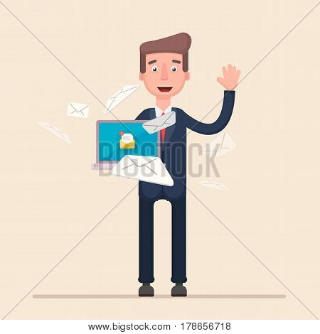 Manager or businessman receives many emails . Vector illustration in a flat style.