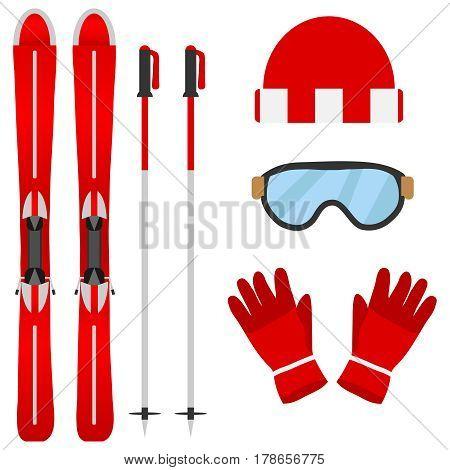 Set of skiers. Flat design vector illustration vector.