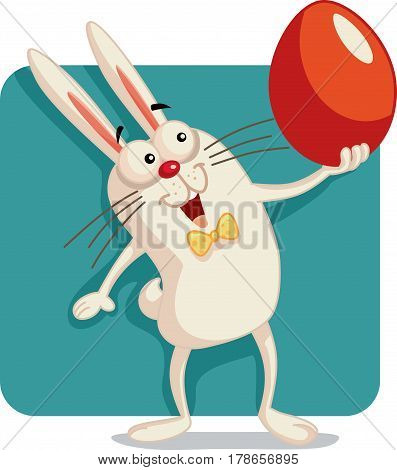 Happy Bunny Holding an Easter Egg Vector Cartoon