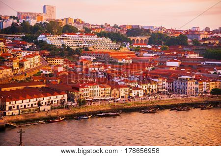 The city of Porto. View of the Douro River. Sunset. Summer city landscape.