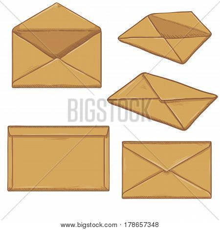 Vector Set Of Cartoon Brown Envelopes.