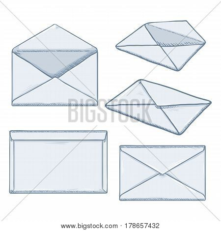 Vector Set Of Cartoon White Envelopes.