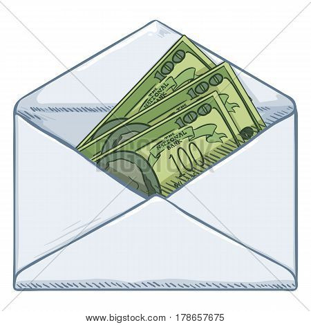 Vector Cartoon Open Blank White Envelope with Currency Banknotes