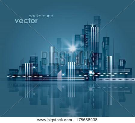 Abstract modern night City skyline vector illustration