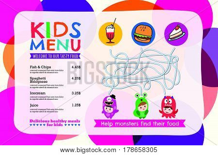 Cute colorful kids meal menu placemat with circle background vector template