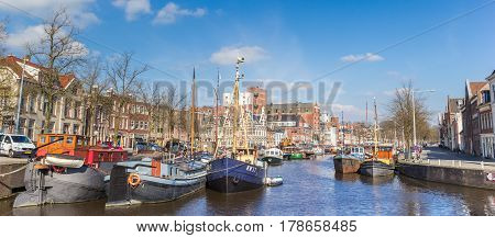 GRONINGEN, NETHERLANDS - MARCH 23, 2017: Panorama of ships at the Noorderhaven in Groningen, The Netherlands