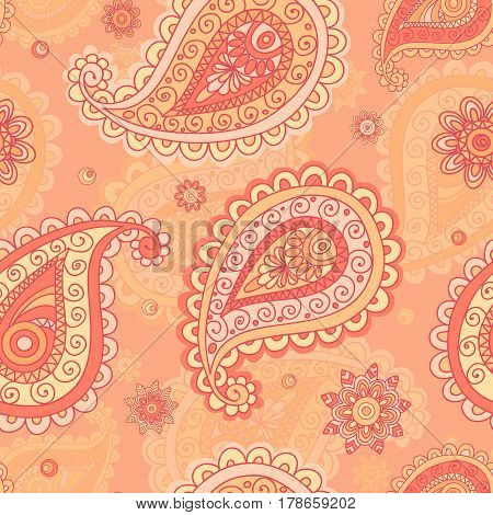 Seamless pattern based on traditional Asian elements Paisley. Vintage flowers background. Decorative ornament backdrop for fabric textile wrapping paper card invitation wallpaper web design.