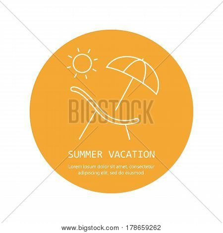 Deck chair and sun Icon. Beach chaise lounge with umbrella logo. Recliner image. Simple thin line icon for websites web design mobile app infographics.