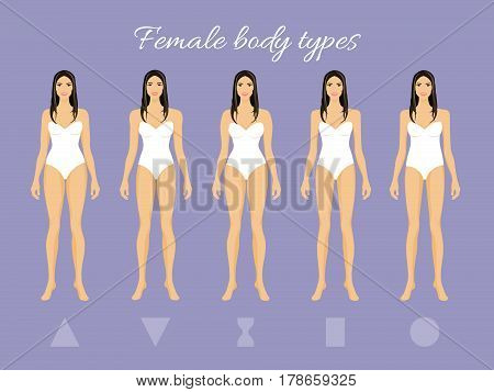 Set of Female Body Shape Types: Triangle, Inverted Triangle, Hourglass, Rectangle, Round