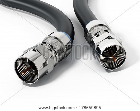 A pair of coaxial cables isolated on white background. 3D illustration.
