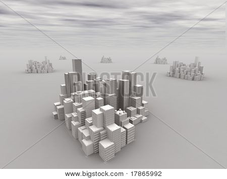 6 3D cities in a surreal smoggy atmosphere