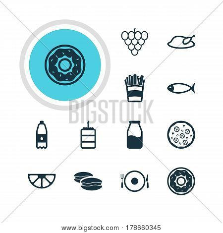 Vector Illustration Of 12 Cuisine Icons. Editable Pack Of Grill, Drink Bottle, Cruet And Other Elements.