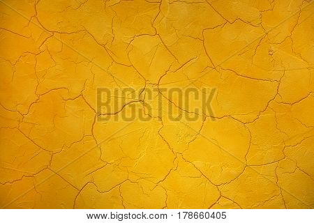 Crackle Or Cracked Paint Texture In Bright Yellow