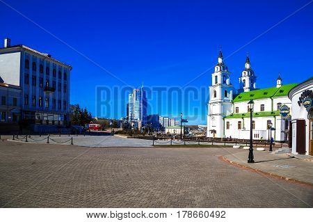 MINSK BELARUS - March 23 2017: Cathedral of the Descent of the Holy Spirit on Liberty Square old buildings editorial