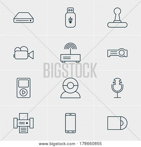Vector Illustration Of 12 Technology Icons. Editable Pack Of Floodlight, Camcorder, Smartphone And Other Elements.