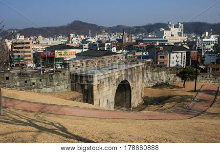 Jinju, South Korea - February 16, 2011 - Gate. City view from Jinjuseong Fortress in February 16, 2011, Jinju, South Korea.