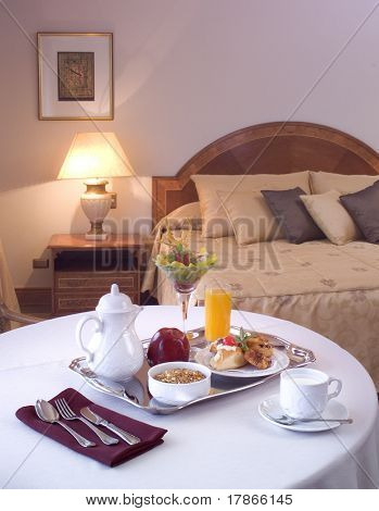 Breakfast table at hotel room