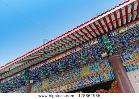Architecture Of Chinese Temple In Thailand. The Public Domain Or Treasure Of Buddhism, No Restrict I