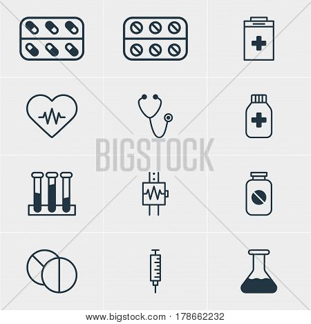 Vector Illustration Of 12 Medicine Icons. Editable Pack Of Round Tablet, Vaccinator, Exigency And Other Elements.