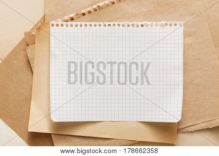 Kraft note paper piece texture. Office and business stationary, stack of paper, template, copy space for design of text